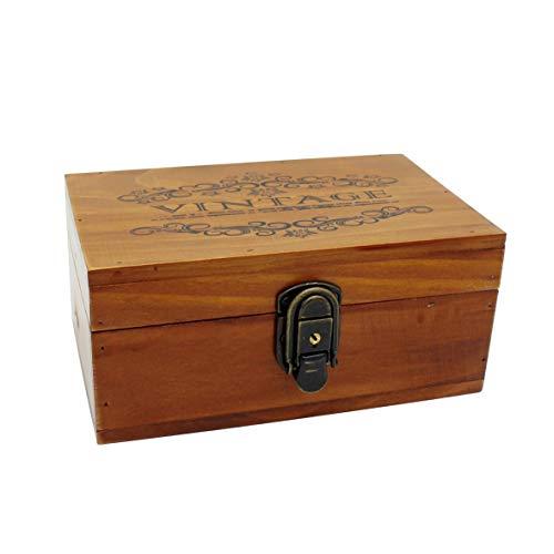 VKSG Caja de almacenamiento de madera vintage con tapa con bisagras decorativas de madera para joyas, maquillaje de té