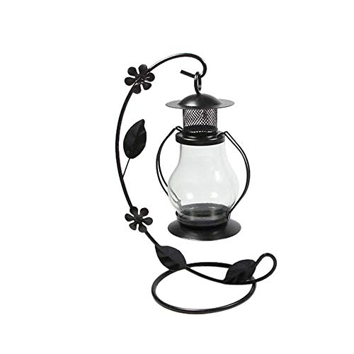 SKREOJF Vintage Hanging Candle Holder Romantic Candlestick Home Party Wedding Home Decor (Color : Black)