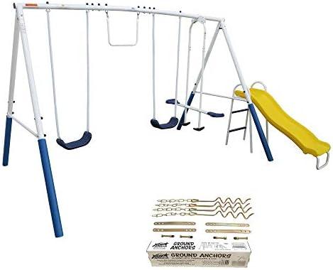 XDP Recreation Blue Ridge Outdoor Backyard Kids Swing Set w Slide Anchor Kit product image