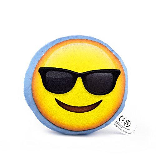 EAST-WEST Trading GmbH Mini Emoticon Kissen, Emoticon Smile mit Brille, Kissen, Mitbringsel, Geschenk