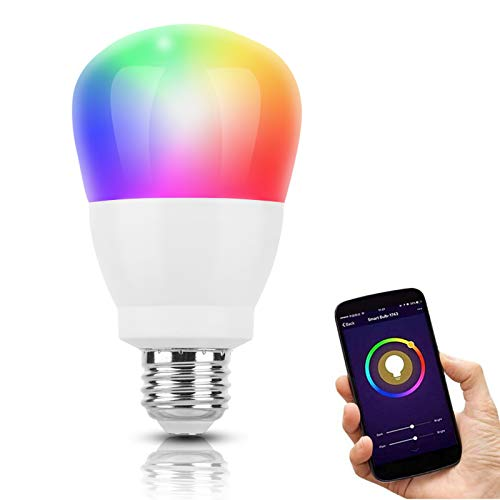 Bombilla LED Inteligente WiFi Regulable 9W Sendowtek, E26 RGBCW Multicolor Regulable Lámpara, Soporta Luz Blanca Fría y Cálida, Compatible con Alexa, Echo, Google Home,...