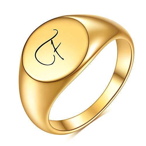 DGSDFGAH Anillo Mujer,Sra. F Carta Inicial Sello Sello Anillo Chunky Dome Fashion Jewelry,10