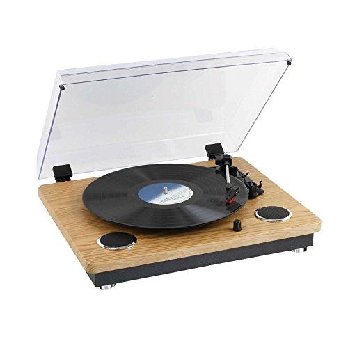Clipsonic Schallplattenspieler mit Bluetooth Lautprecher Retro Plattenspieler Holz-Optik (Diamantnadel, 3 Lesegeschwindigkeiten, Riemenantrieb, RCA Ausgang)