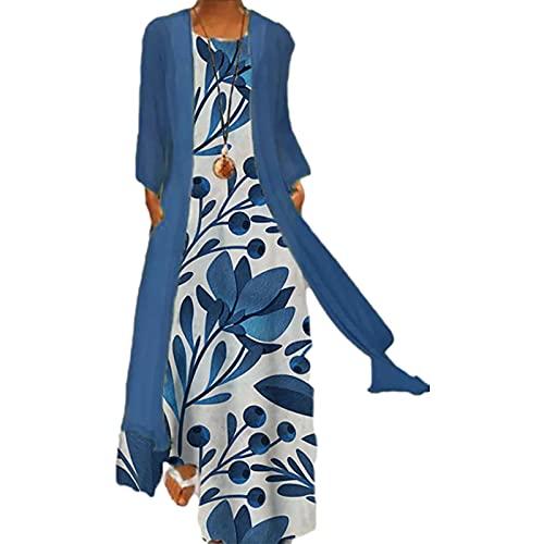 YANFANG Vestido Cottagecore,Vestido Sin Mangas con Cuello En O Y Estampado De Talla Grande para Mujer Abrigo Color SóLido Dos Piezas,Vestido Largo Mujer, Redondo, Informal, Floral,Azul,3XL
