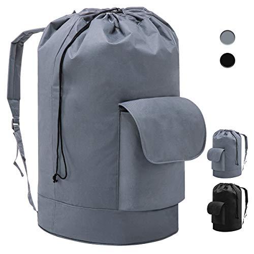 YOUDENOVA Backpack Laundry Bag with Padded Adjustable Shoulder Strap and Pocket for College Dorm, Durable Oxford Backpack Hamper Bag with Drawstring Closure for Travel, Camping, XL