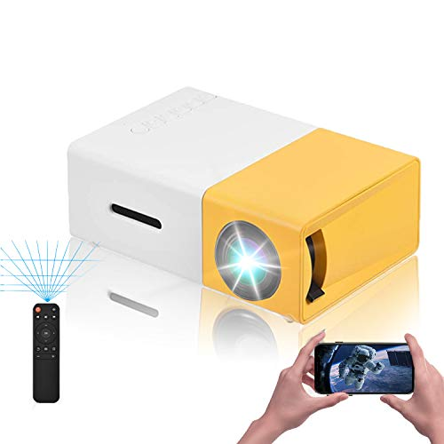 VBESTLIFE Mini Heimkino Portable LED Projektor,HD HDMI Multimedia Player Projektor für Reisen, Camping,Hof, Reisen, Camping,unterstützt HDMI, AV, USB-Eingang(Weiß + Gelb)