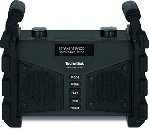 TechniSat DIGITRADIO 230 OD - portables DAB+ Baustellenradio (DAB+, DAB, UKW, USB, AUX in, Bluetooth, leistungsstarker Akku, Favoritenspeicher, 2 x 6 Watt Stereo-Lautsprecher) schwarz
