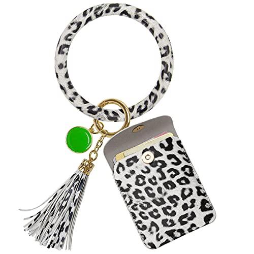 Keychain Bracelets, Women Wristlet Bangle Circle Key Ring Pocket Card Holder