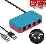 ゲームキューブコントローラ接続タップ 対応 Switch & WiiU & PC Switch 大乱闘スマッシュブラザーズ GAMECUBE コントローラー 用 転換 アダプタGC (ブラック)
