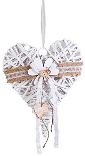 dekojohnson decoratie voor ramen/deur om op te hangen Rotan hart raamdecoratie deurkrans landhuisstijl wit 30x40cm grote bloem