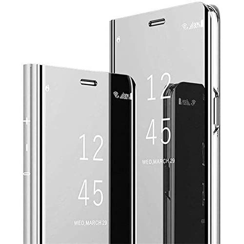 QPOLLY Cover Specchio Compatibile con Samsung Galaxy A10, Custodia Flip Portafoglio Libro in Pelle Bumper Case Ultra Sottile Traslucido Chiara Vista Placcatura Protettiva Mirror Supporto Cover,Argento