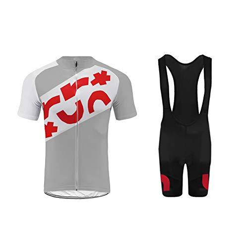 Uglyfrog Herren Radtrikot Set, Atmungsaktiv Quick-Dry Kurzarm Radsport-Shirt + Gel Gepolsterte Bib Shorts Grau Familie