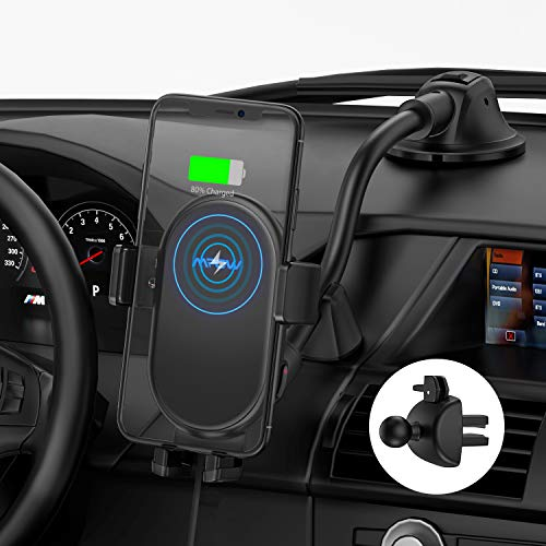 Mpow Soporte Movil Coche Cargador Inalambrico, Wireless Car Charger Soporte con Bloqueo automático 10W/7.5W/5W, para iPhone 11/11 Pro/11 Pro MAX/XS MAX/XS/XR/8, Galaxy S20/S10/Note 9/S9 y Otros