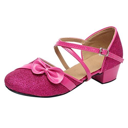 Zapatos de Fiesta de Tango Latino Tacon para Niñas Primavera Verano 2019 PAOLIAN Calzado Bailarina Princesa Chicas Sandalias Ballet Vestir Boda Zapatillas Danza Cuero Lentejuelas EU 24-35