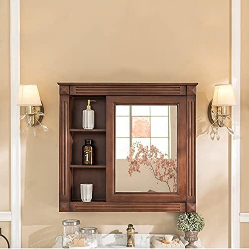 QLIGHA Badezimmerschrank mit Spiegel Vintage Wand-Aufbewahrungsschrank Gummi Holz Toilettenschrank Aufbewahrungseinheit Multifunktionaler einseitiger Spiegelschrank
