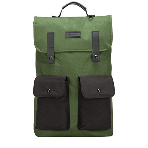Consigned Unisex-Adult Consigned Twin Front Pocketed Backpack Backpack Green (Green-Blk)