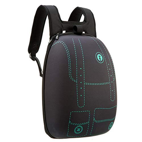 ZIPIT Shell Laptop Backpack, Book Bag for School, Water Repellent, Lightweight & Sturdy (Black & Green)