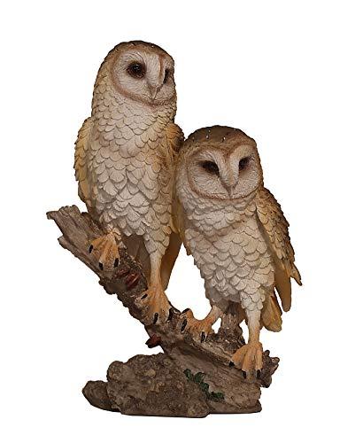 Eule Uhu Kauz Vogel Paar Deko Garten Tier Figur Skulptur Schneeeule Schleiereule