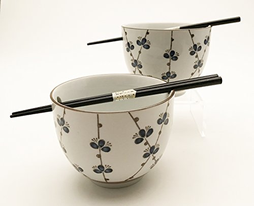 Japanese Dinnerware Ceramic Ramen Udon Noodle Bowl Set of 2 with Bamboo Chopsticks Gift Pack Good Quality (Kikyo Floral)