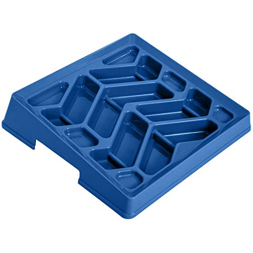 Leashboss Flat Face Feeder, Tilted Slow Feed Bowl for Short Snout Dogs & Cats, Slanted Maze Food Bowl for French Bulldogs, Pugs, Boston Terriers (Blue)