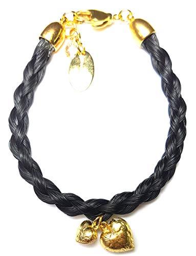Schwarzes Pferdehaar Armband mit Herz in gold//Länge 17.5 cm Durchmesser 0,5cm