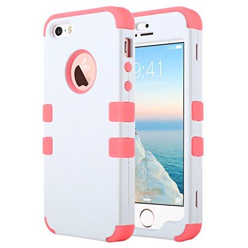 ULAK iPhone 5 Case iPhone 5S Caso iPhone SE Funda Cases Carcasa Wave hñbrida Resistente Suave TPU + PC para el iPhone 5S 5 SE con Protector de Pantalla y Stylus (Blanco + Rojo del Agua)
