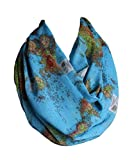Etwoa's World Map Infinity Scarf Circle Scarf Loop Scarf, Blue, Large