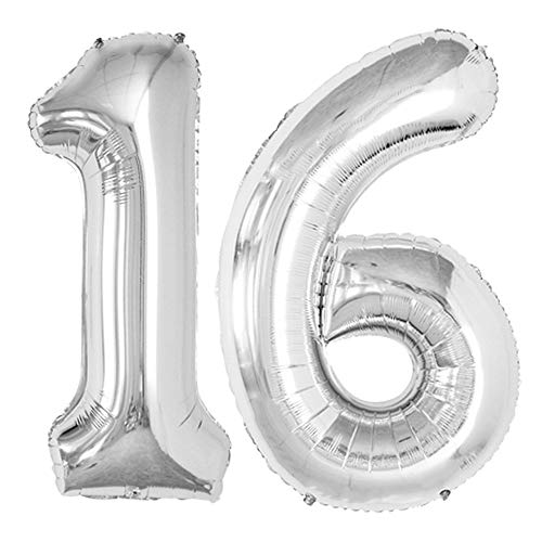 GOER 42 Inch Silver 16 Number Balloons for 16th Birthday Party Decorations Sweet 16 Party Supplies