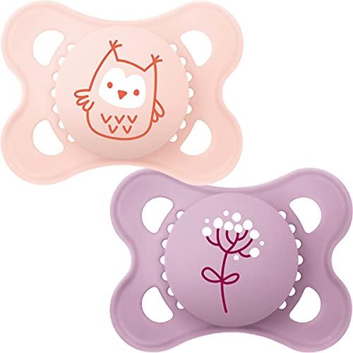 MAM Original Colours of Nature Schnuller 0+ (Eule und Blume), Baby Schnuller Set für Neugeborene, MAM Schnuller Pack mit Woodland Designs, Baby Schnuller Pack mit MAM Saugern