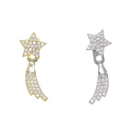 JFHGNJ Fashion Statement Ohrringe 925 Sterling Silber sternschnuppe baumeln ohrring für Frauen Dame mädchen Geburtstagsgeschenk-Goldfarben