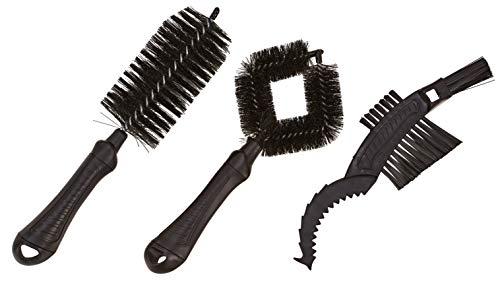 Prophete Unisex– Erwachsene Pflegebürsten-Set 3 Stück Bürsten für Rahmen-und Laufräder Reinigung, schwarz, one Size