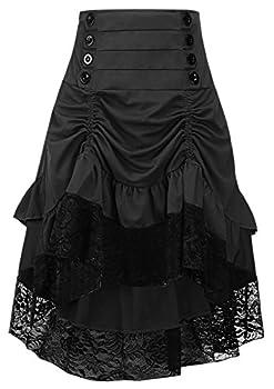 Alivila.Y Fashion Womens Steampunk Skirt Victorian High Low Dress 31706-Black-XL