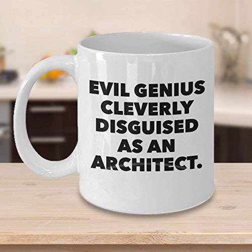 N\A Divertida Taza de caf de Arquitecto, los Mejores Regalos Personalizados con Nombre Personalizado para constructores, diseadores, Creadores, Ingenieros, Genio Malvado inteligentemente Disfrazado