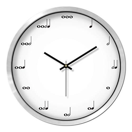Everyday home Horloge murale en métal cadre couverture en verre Nombre non-ticking Horloge murale à quartz 12 / 14inch moderne Quartz Design décoratif intérieur/argent
