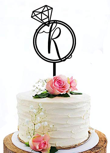 KISKISTONITE Rustic Wedding Cake Topper, Initial Cake Topper, Monogram Cake Topper R with Ring, Black Acrylic Cake Topper For Wedding Decoration Favors Cake Decorating Party Supplies