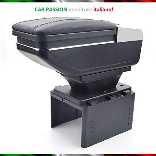 Bracciolo Auto Compatibile con Fiat 500L 500X Punto Mito Console Centrale In Pelle Nero Posacenere Poggiabraccio Vano Portaoggetti