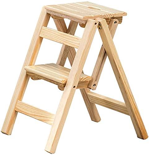 Sgabello pieghevole per bambini, per adulti, 2 gradini per 175,1 kg, in legno nero per la casa/a pedale largo