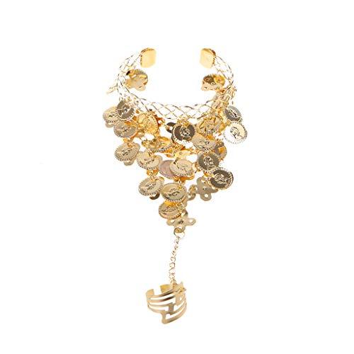 SOFEA Pulsera Cadena Señora Danza del Vientre Oro/Plata Eslabón de Moneda Anillo de Metal a Pulsera Collar