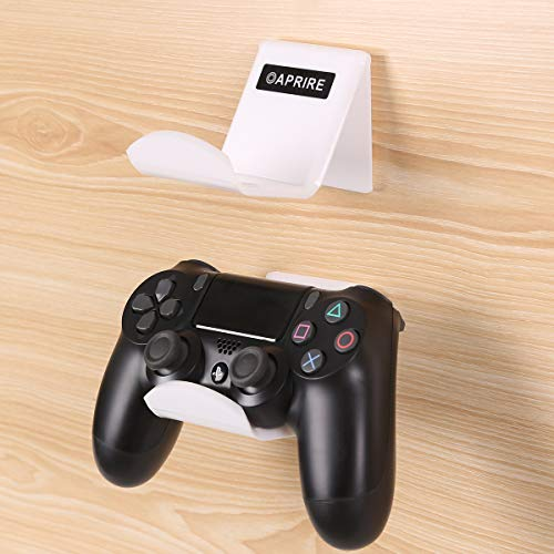 OAPRIRE Game Controller Holder Stand Wall Mount(2 Pack) for PS4 / Xbox One/Steam/Switch/PC Controller - Universal PS4 Xbox one Controller Accessories with Cable Clips - Stick on - White