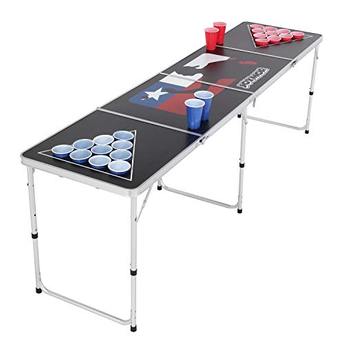 PEXMOR 8 FT Folding Beer Pong Table with Cup Holes & Safety Lock, Portable Beer Game Table Height Adjustable Lightweight with 24 Cups & Ping-Pongs,Upgraded Stability Pong Game Tables (Black)
