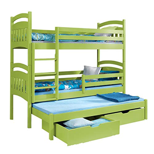 Triple Bunk Bed JACOB 3 Modern Trundle High Sleeper Mattress Drawers Ladder 3 Children Pine Wood