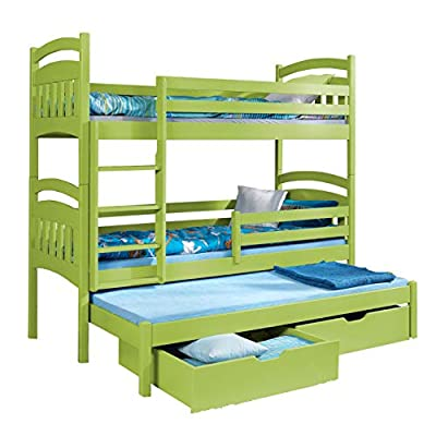 Triple Bunk Bed JACOB 3 Modern Trundle High Sleeper Mattress Drawers Ladder 3 Children Pine Wood
