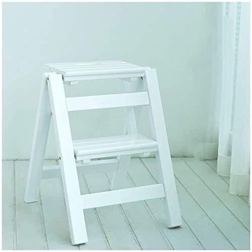 GDFEH Escalera plegable de madera, 2 peldaños, multifunción, plegable, escalera, taburete plegable (color: blanco)