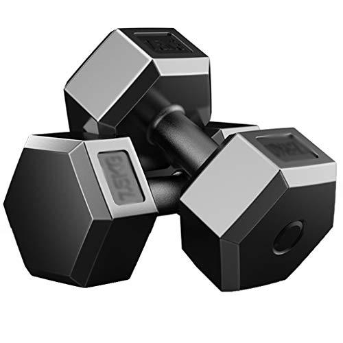 Mancuernas Hexagonales 1 Par Goma para Uso Doméstico Diseño Octagonal Se Pueden Usar como Equipo De Fitness Push-up (Color : Black, Size : 15kg)