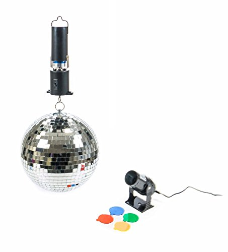 Disco Spiegelkugel Set, Spiegel-Kugel rotierend, Ein-Aus-Schalter, Spot mit 4 Farbfiltern, 10W