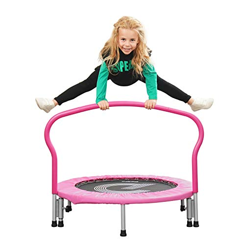 "pelpo 38"" Folding Mini Trampoline, Safety Pad Rebounder with Foam Handle, Play Exercise Bounce for 3-6 Years Kids Toddler Indoor Max Load 180lb, Pink"