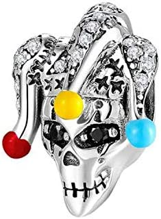 LUCKYBEADS Skull Bead 925 Sterling Silver Evil Clown Charms Fashion Charm Beads Best for Women product image