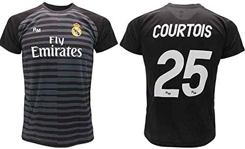 Maglia Courtois Real Madrid Portiere Nera Thibaut 2018 2019 in Blister Regalo 25 Adulto Bambino