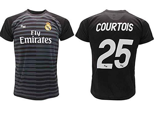 Maglia Courtois Real Madrid Portiere Nera Thibaut 2018 2019 in Blister Regalo 25 Adulto Bambino (12 Anni)