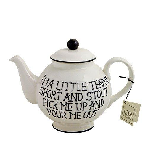 Fairmont and Main - Tetera de cerámica Decorada a Mano, diseño con Texto I'm a Little teapot, Color Crema y Negro